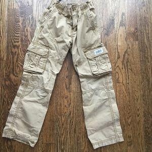 Khaki cargo pants with adjustable waist. Size 8